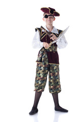 Cute boy posing in pirate costume with eye patch