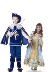 Image of brave musketeer and charming Cinderella
