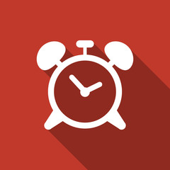 alarm clock icon with long shadow