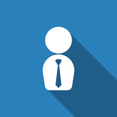 businessman icon with long shadow