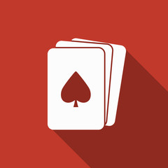 playing cards icon with long shadow
