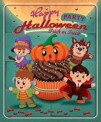 Vintage Halloween poster design withcupcake, kids in costume