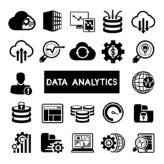 big data concept icons, data analytics icons