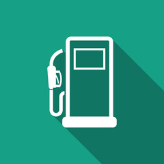 gas pump icon with long shadow