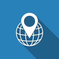pin on globe icon with long shadow