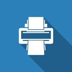 printer icon with long shadow