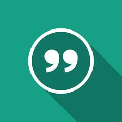 quote sign icon with long shadow