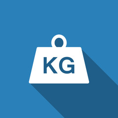 weight kilogram icon with long shadow