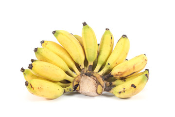 Bunch of local bananas in Thailand isolated on white background