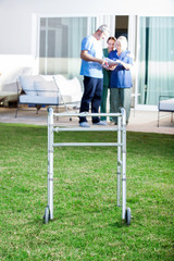 Walking Frame On Lawn At Nursing Home