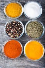 Overhead view of cooking ingredients, spices, herds