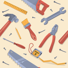 Seamless pattern with different tools. Vector illustration.