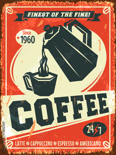 Poster, Tablou Coffee background. Vector illustration.