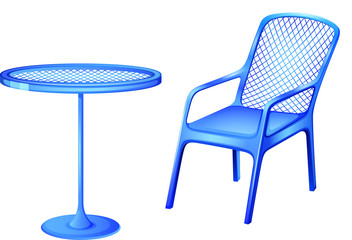 A blue table and chair