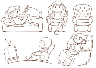 Plain sketches of the lazy people