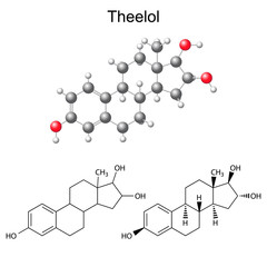 Structural chemical formulas and model of theelol molecule
