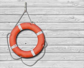 Lifebuoy on old wood white background