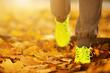 Runner woman feet running on autumn road closeup on shoe. Female