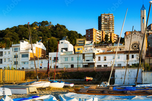 canvas print picture   houses of  Catalan town at sea coast. Montgat