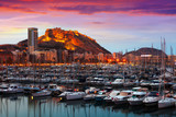 port  and Castle of Santa Barbara during sunset. Alicante