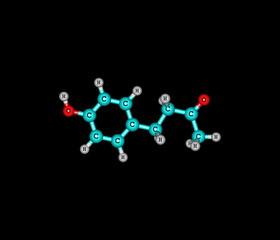 Raspberry ketone molecule isolated on black