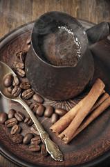 Fresh coffee in cezve