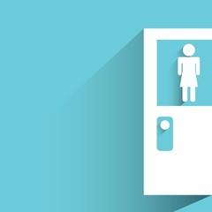 toilet door, female wc sign