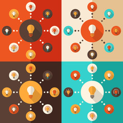 Flat design vector illustration with icons set of bulbs