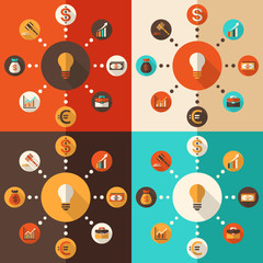 Flat vector illustration with icons of modern business elements