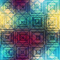 Grunge geometric retro pattern.