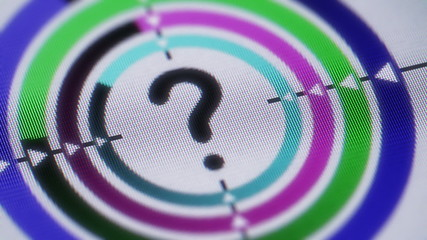 Question icon on the screen. Looping.