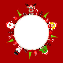 Round Frame Santa, Rudolph, Tree, Angel & Snowman Symbols Red