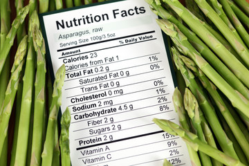 Nutrition facts of raw asparagus