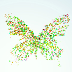 Paint stain butterfly silhouette bright colorful