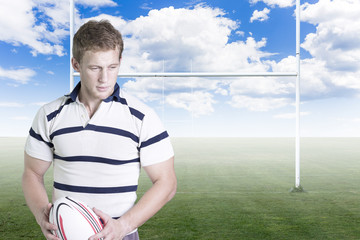 rugby player with a ball