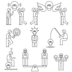 people with idea light bulb