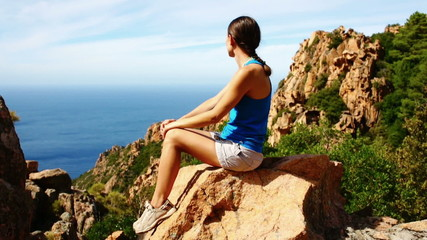 Young female tourist enjoying beautiful view, Corsica