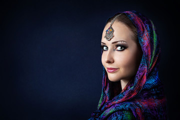 Woman in Indian scarf