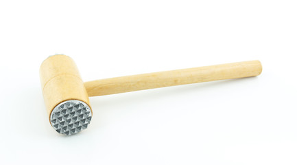 Wooden meat hammer on white background