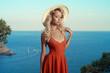 Beautiful blonde at the sea
