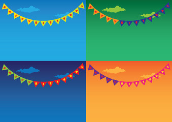 Colorful Outdoor bunting and garland sets