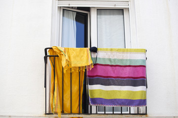Towels on a balcony in the city. Europe. Spain
