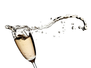 Champagne splash with drops