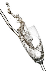 Champagne flow and up in a glass