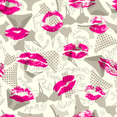 Underwear pattern with kisses.