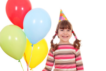 happy little girl with balloons birthday party