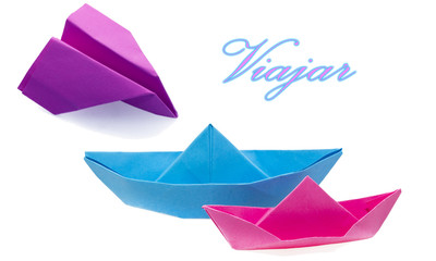 paper boat and paper airplane