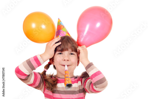 canvas print picture happy little girl with trumpet and balloons birthday party