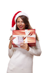 Young woman with an Xmas gift and money