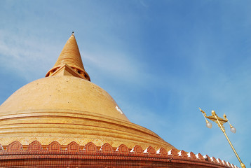 The big gold pagoda in nakhon pathom thailand